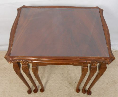Nest of Three Flame Mahogany Coffee Tables